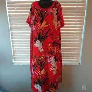 Flowy Red Print Dress 2X
